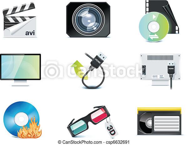 ベクトル, ビデオ, p.4, icons. - csp6632691