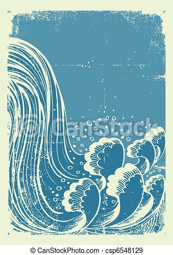 ベクトル, ペーパー, 水, 背景, 古い, グランジ, 青, waterfall., 波 - csp6548129