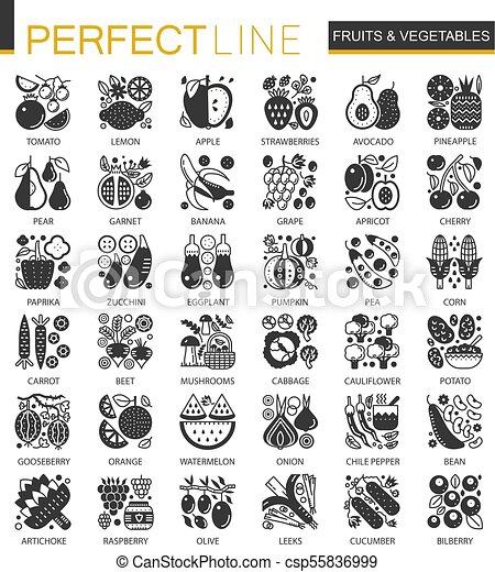 ベクトル, ミニ, 概念アイコン, 野菜, シンボル, infographic, 黒, 成果, set. - csp55836999