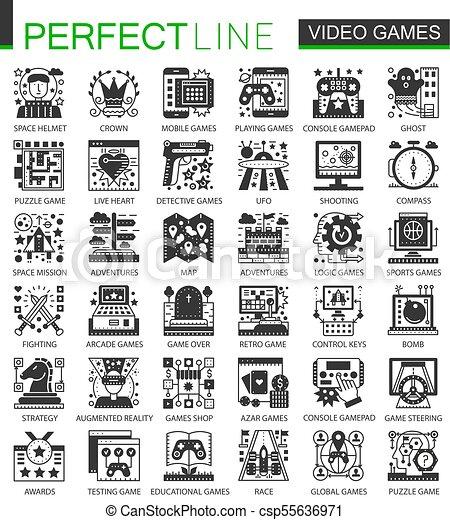 ベクトル, ミニ, 概念アイコン, set., クラシック, シンボル, infographic, ビデオゲーム, 黒 - csp55636971
