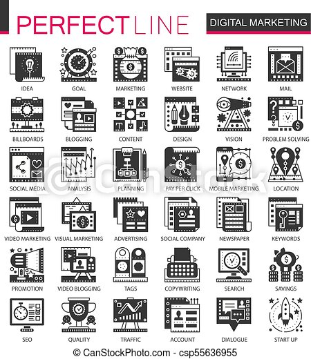 ベクトル, ミニ, 概念, セット, マーケティング, アイコン, シンボル, infographic, 黒, デジタル, seo - csp55636955