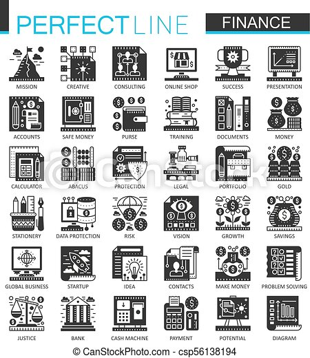 ベクトル, ミニ, 概念, 金融, アイコン, set., シンボル, 銀行業, infographic, 黒 - csp56138194