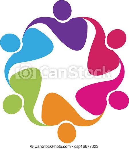 ベクトル, ロゴ, 抱擁, チームワーク - csp16677323