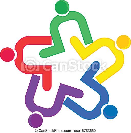 ベクトル, ロゴ, 抱擁, チームワーク - csp16783660