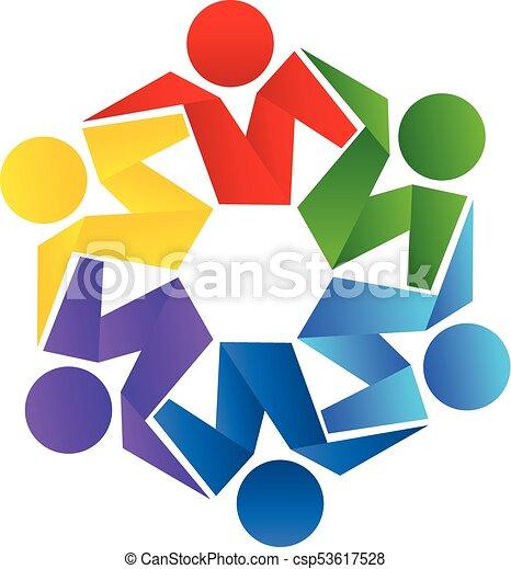 ベクトル, ロゴ, 抱擁, チームワーク, 人々 - csp53617528