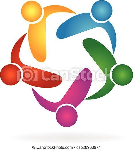 ベクトル, ロゴ, 抱擁, チームワーク, 人々 - csp28963974