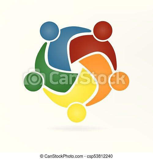 ベクトル, ロゴ, 抱擁, チームワーク, 人々 - csp53812240