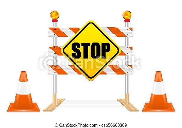 ベクトル, 一時停止標識, 道の ブロック, 道具 - csp56660369
