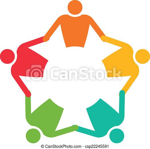 ベクトル, 人々, 5., チームワーク, 保有物, 円, hands., アイコン - csp22245591