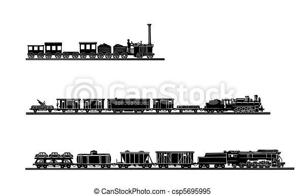 ベクトル, 古い, 列車, 背景, セット, 白 - csp5695995