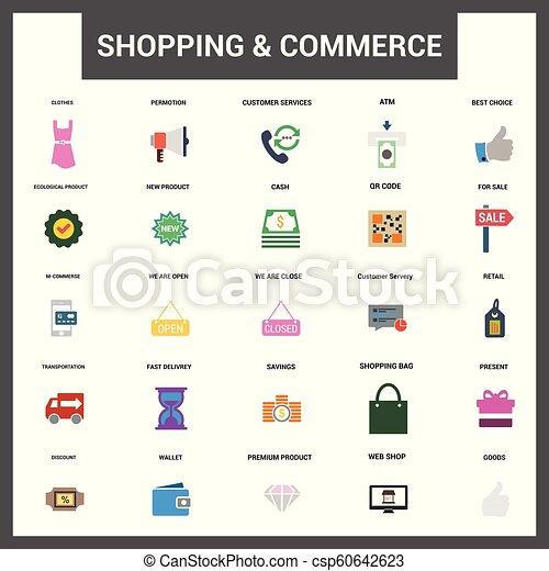 ベクトル, 商業, セット, 買い物, アイコン - csp60642623