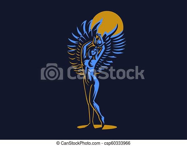 ベクトル, 女神, isis., emblem., エジプト人 - csp60333966