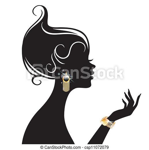 ベクトル, 女, イラスト, 美しさ - csp11072079