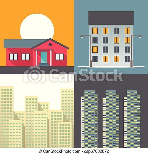 ベクトル, 家, セット, イラスト, アイコン - csp67002872
