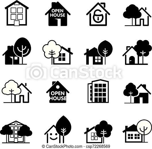 ベクトル, 家, icon., セット, illustration. - csp72268569
