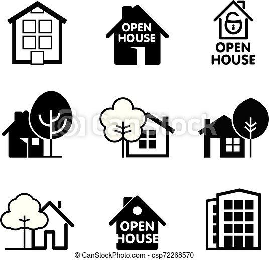 ベクトル, 家, icon., セット, illustration. - csp72268570