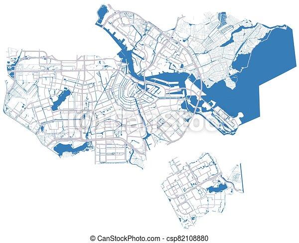 ベクトル, 川, アムステルダム, 本, 地図, 道 - csp82108880