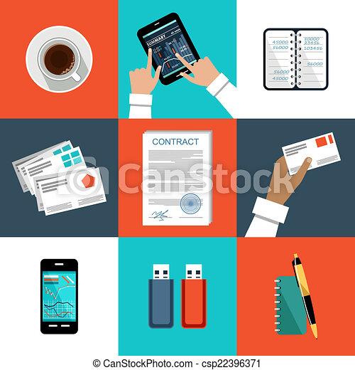 ベクトル, 平ら, セット, things., オフィス - csp22396371