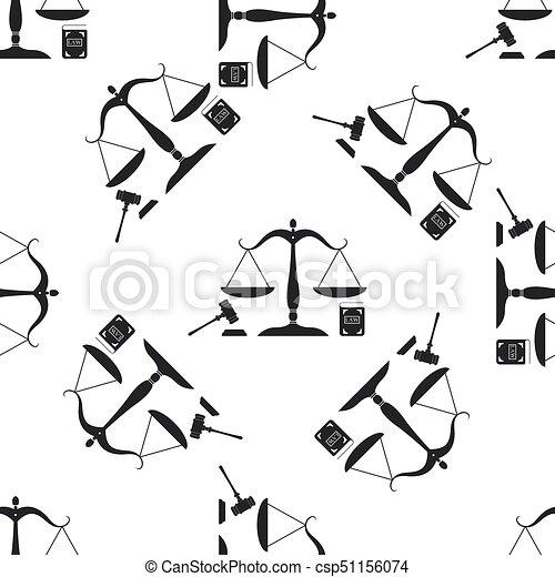 ベクトル, 平ら, law., 概念, アイコン, スケール, オークション, パターン, シンボル, justice., seamless, 法的, シンボル。, バックグラウンド。, 本, イラスト, 正義, 小槌, 白, 法律, design. - csp51156074