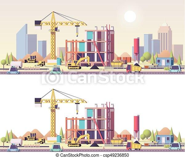 ベクトル, 建設, 低い, poly, サイト - csp49236850