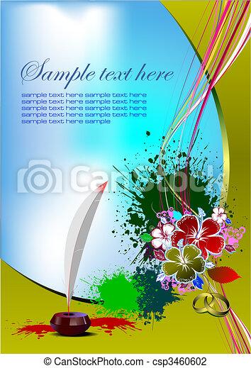 ベクトル, 招待, card., イラスト, 結婚式 - csp3460602