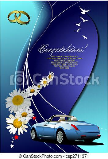ベクトル, 招待, image., cabriolet, 結婚式 - csp2711371