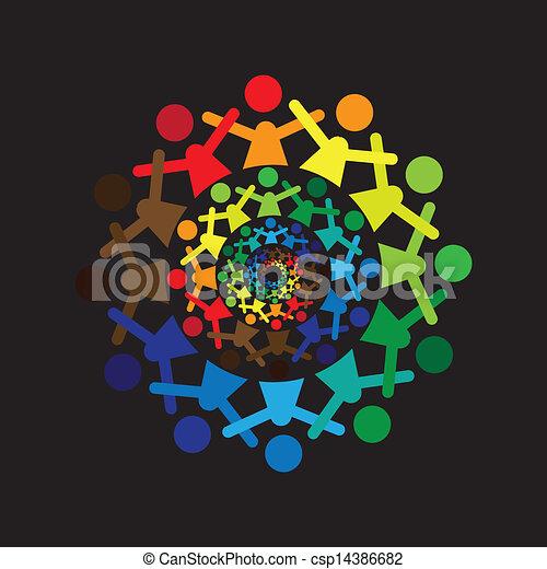 ベクトル, 概念, カラフルである, graphic-, 抽象的, 一緒に, 子供, icons(si - csp14386682