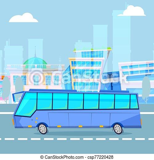 ベクトル, 漫画, バス, 観光客, 運転, 都市の景観, illustration., 都市 - csp77220428