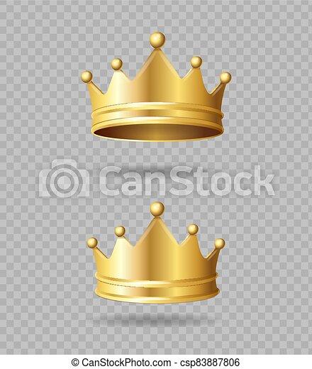 ベクトル, 現実的, 詳しい, 金, set., 王冠, 3d - csp83887806