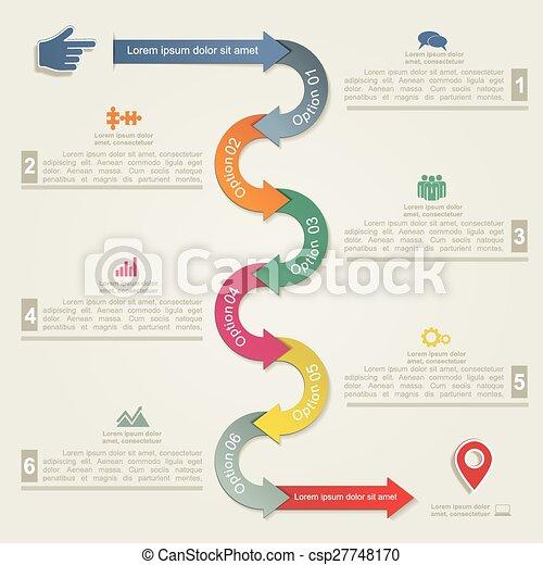 ベクトル, 矢, icons., infographic, テンプレート, レポート - csp27748170