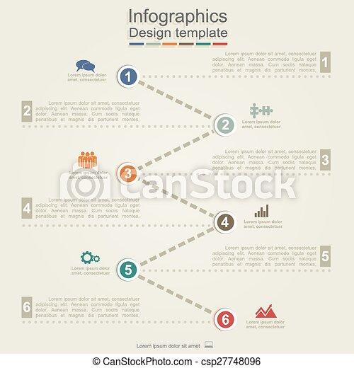 ベクトル, 矢, icons., infographic, テンプレート, レポート - csp27748096