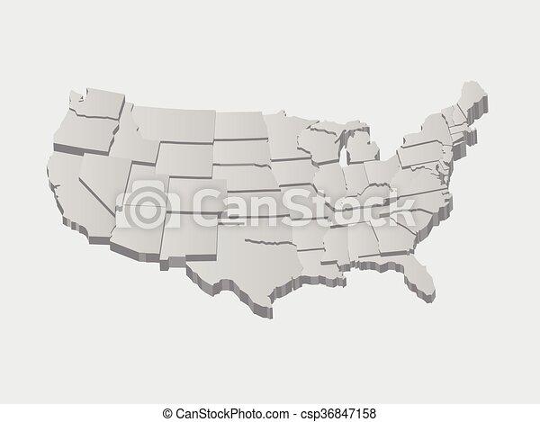 ベクトル, 米国, 地図, 3d - csp36847158