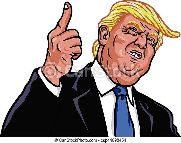 ベクトル, 肖像画, donald, 大統領, 45th, 切り札, 米国, イラスト - csp44898454