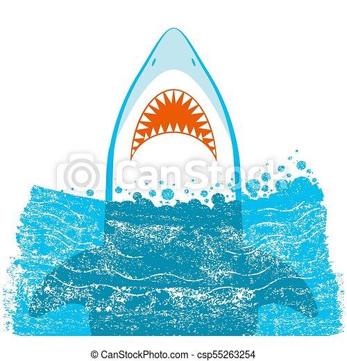 ベクトル, 背景, サメ, jaws., イラスト, 青 - csp55263254