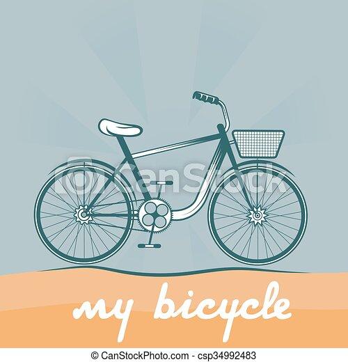 ベクトル, 自転車, レトロ, イラスト - csp34992483