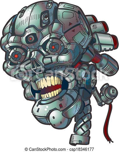 ベクトル, 芸術, ロボット, クリップ, 頭骨 - csp18346177