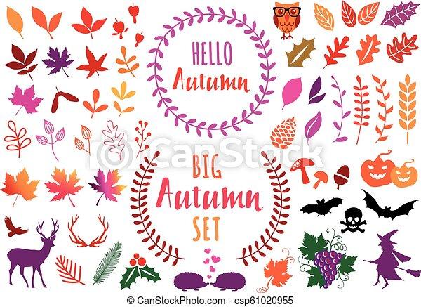 ベクトル, 葉, 要素, セット, 秋, カラフルである, デザイン - csp61020955