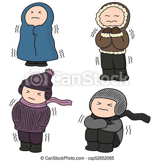 ベクトル, 衣服, セット, 冬, 人々 - csp52652065