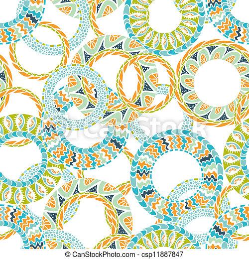 ベクトル, 装飾, ラウンド, pattern., カラフルである, seamless, 民族性 - csp11887847