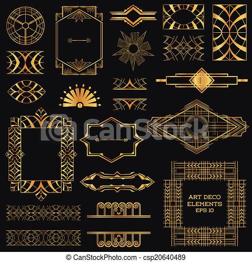 ベクトル, 要素, 芸術, 型, -, deco, デザイン, フレーム - csp20640489