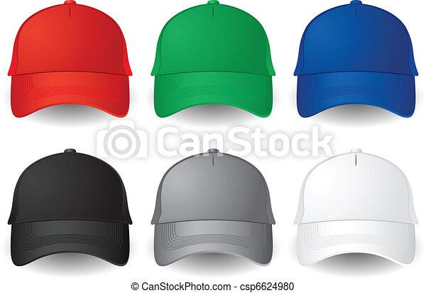 ベクトル 野球帽 セット 固体 隔離された 帽子 色 ベクトル 野球
