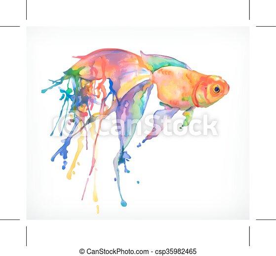 ベクトル 金魚 イラスト イラスト 隔離された 水彩画 ベクトル