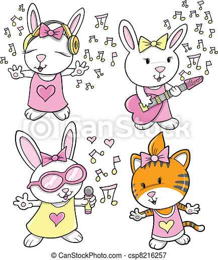 ベクトル, 音楽, デザインを設定しなさい, 動物 - csp8216257