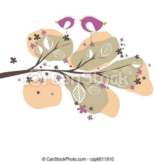 ベクトル, 鳥, 木。, 背景, イラスト - csp6611910