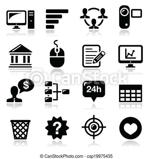 ベクトル, 黒, インターネット, 網, アイコン - csp19975435