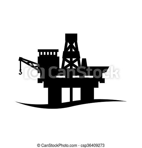 ベクトル, 黒, オイル, アイコン, プラットホーム - csp36409273