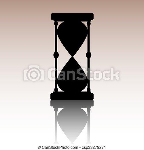 ベクトル, 黒, hourglass., silhouette. - csp33279271