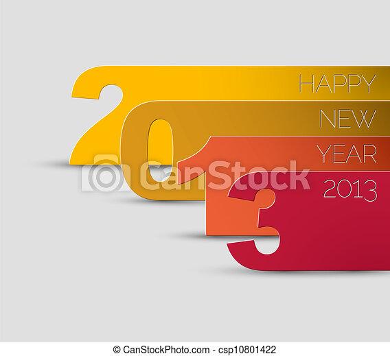 ベクトル, 2013, 年, 新しい, カード, 幸せ - csp10801422