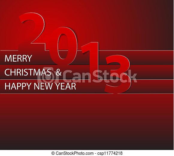 ベクトル, 2013, 年, 新しい, カード, 幸せ - csp11774218