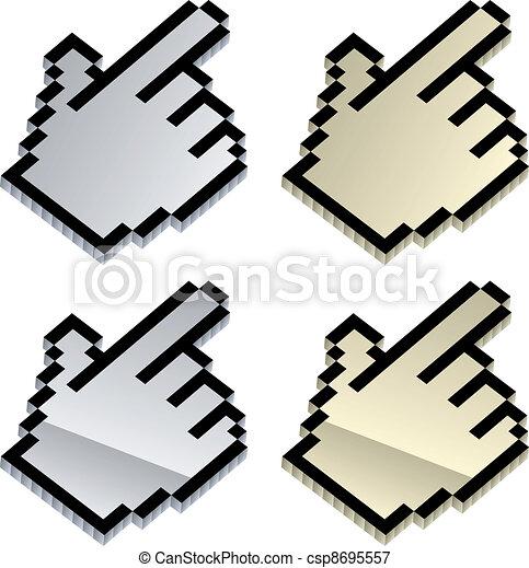 ベクトル, 3d, カーソル, 金属 - csp8695557